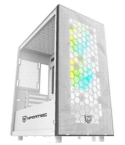 Nfortec Eris Torre Gaming RGB de Frontal Mallado con Relieve 3D y más de 15 Modos de iluminación - Color Blanco
