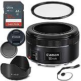 Canon EF 50mm f/1.8 STM Lens for Canon Digital SLR Cameras with 49mm UV Ultra Violet Filter, Tulip Lens Hood & Sandisk 32GB Ultra Memory Card - 0570C002