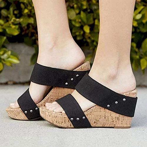 La comodidad de tacón de cuña partido de las sandalias, zapatos de tacón de cuña de apoyo transpirable zapatos de gran tamaño, sandalias de tacón de cuña-Black_43, bajo la cuña del dedo del pie resbal