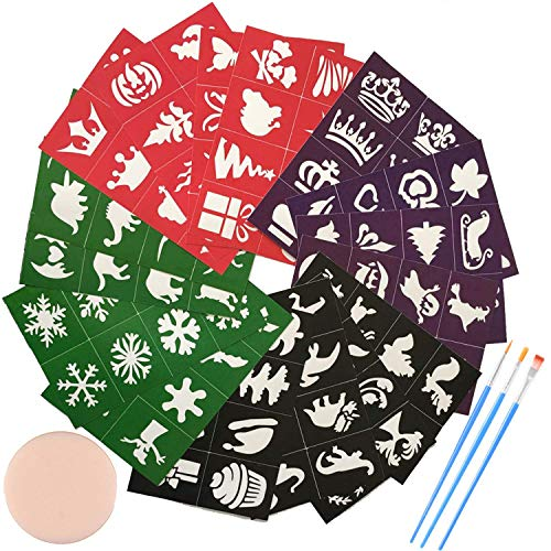 Lystin Face & Body Paint Stencils Kit for Kids (128-Pack) - Reusable, Soft and Easy to Stick Down - Tattoo Stencils, Glitter Temporary Tattoos for Kids School Carnival Birthdays Halloween Christmas