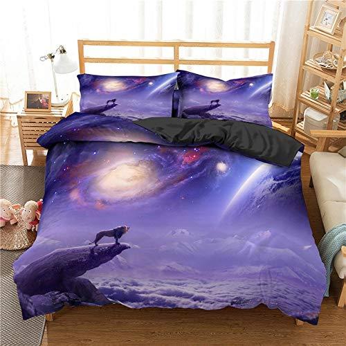 Mdsfe 3D Lion King Bedding Sets with Pillowcases Bed Linens set Comforter Bedding Sets Quilt/Duvet Cover Set 2/3 pcs - CD293-6, duvet cover, EU Double 210x210cm