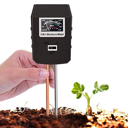 Soil Tester, 3 in 1 Soil Test Kit for Moisture, Light & pH Meter for Plant, Vegetables, Garden, Lawn, Farm, Indoor/Outdoor Plant Care Soil Tester (No Battery Need & 2020 Update)(Black)