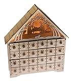 Clever Creations - Calendario de Adviento - Cuenta atrás de 24 días hasta Navidad - Madera - Escena del Nacimiento iluminada - 29,9 cm