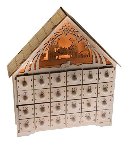 Clever Creations - Calendario dell'Avvento con Scena Natività - Decorazione Natalizia in Legno con 24 cassetti Illuminati per Countdown - 30 cm