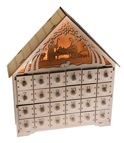 "Clever Creations Nativity Scene Advent Calendar Wooden 24 Day Countdown to Christmas Advent Calendar | Premium Christmas Decor | Light Up Nativity Wood Construction | 11.75"" Tall"