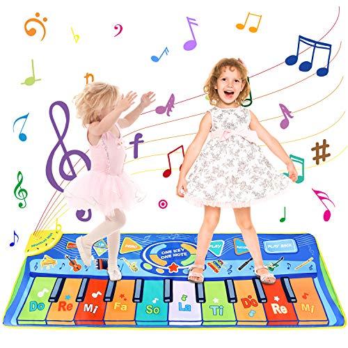 joylink Tanzmatte, Klaviermatte Musikmatte Tanzmatte Kinder Keyboard Matte 130*48cm Tanzmatte Piano Matte Keyboard Spielteppich mit 10 Tasten und 8 Instrumenten