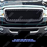 APS Compatible with 2004-2008 F-150 Rivet Stud Black Stainless Steel Mesh Grille Grill Insert FL5815H