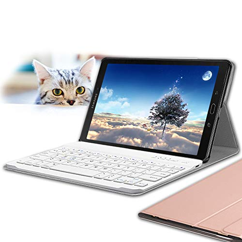 Galaxy Tab A 10.1 Keyboard Case 2016(Not for 2019 Model), Wineecy PU Leather Auto Sleep/Wake with Magnetically Detachable Bluetooth Wireless Keyboard for Samsung Galaxy Tab A 10.1 SM-T580/T585, Pink