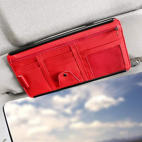 Car Visor Organizer with Adjustable Straps, Auto Interior Accessories Pocket Organizer, Car Sun Visor Pen Document Holder Storage Pouch with Hard Back (Red)