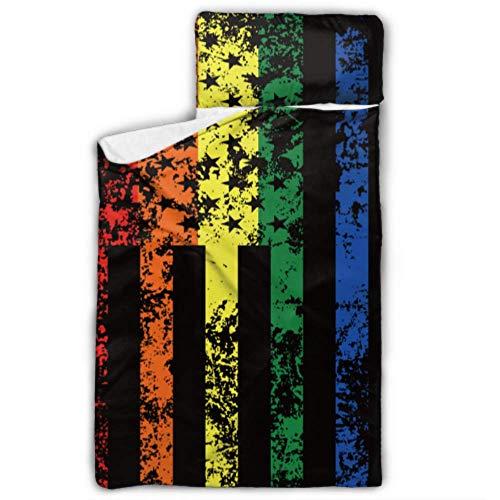 Lustige Regenbogen amerikanische Flagge Gay Pride Kleinkind Kinderbett Schlafsack Kinderbett Bettwäsche für Kindertagesstätte mit Decke und Kissen Rollup Design ideal für Vorschule Kindertagesstätte