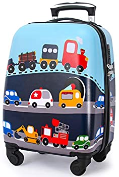 Lttxin Kids Rolling Luggage with Wheels Hard Shell Carry On Suitcase 18 inch for Toddler Boys Veholes