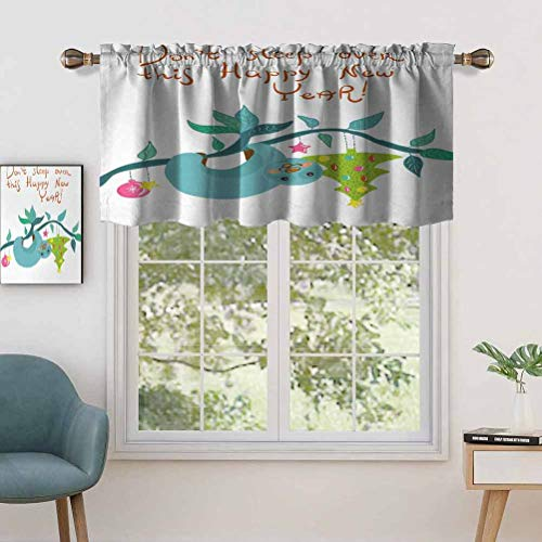 Hiiiman Window Treatments Curtain Tiers Rod Pocket Childish Doodle of Funny Mammal Christmas Tree, Set of 1, 50'x18' Home Decorative Blackout Panels for Kitchen