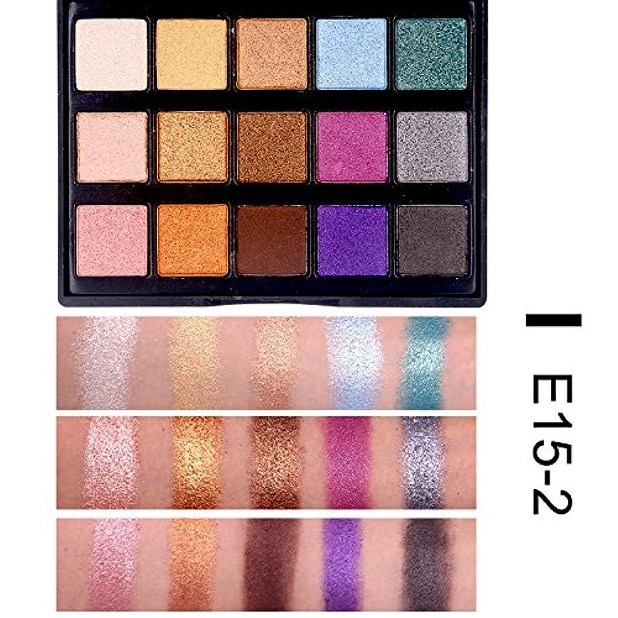 努力するコンデンサー故障(E15-2) 15 Color Eye Shadow luminous Glitter Natural Easy to wear Shimmer Waterproof Matte Eyeshadow Palette Makeup
