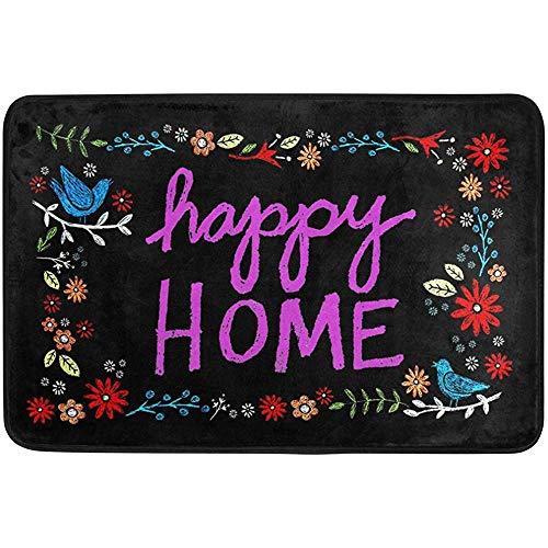 dingjiakemao Felpudos Al Aire Libre,Happy Home Indoor Outdoor Door Mat Non-Slip Doormat 60 X 40 Cm Machine Washable Polyester Fabric