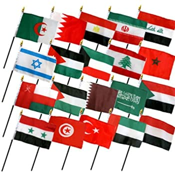 Moon Knives Set of 20 Middle East Eastern Countries 4  x6   Desk Table Stick Flag  No Bases  - Party Decorations Supplies For Parades - Prime Outside Garden Men Cave Decor Flag