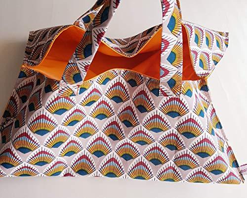 Sac à tarte grand modèle en toile coton motif eventail plume de paon et intérieur tissu enduit orange