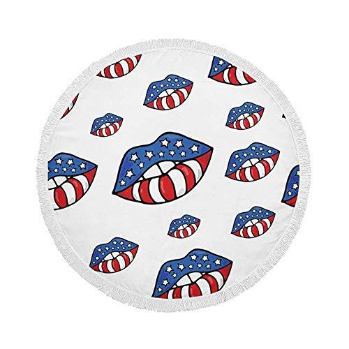 R&e Strandtuchdecke, die Lippen der Flagge von Amerika, übergroße große Kreis-Yogamatte 59 inch mit Fransenquasten