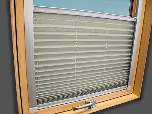 Plissee Faltstore Faltrollo für VELUX Fenster - Profilfarbe Silber (auch mit weißen Profilen erhältlich), Stoffgruppe A, Deutsches Markenprodukt, Crème, GGL GPL GGU GPU F06