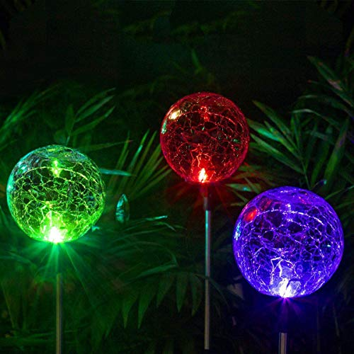 Solpex Solar Globe Lights Outdoor, Cracked Glass Ball Dual LED Garden Lights,Color-Changing Outdoor Landscape Garden Light Decoration, Garden Decor.