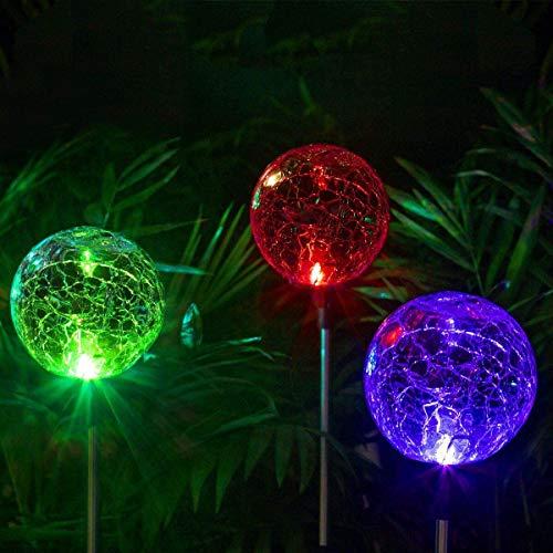 Solpex Solar Globe Lights Outdoor, Cracked Glass Ball Dual LED Garden Lights,Color-Changing Outdoor Landscape Garden Light Christmas Decoration, Garden Decor.