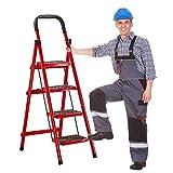 joyvio Escalera Plegable de 3 A 5 Peldaños, Escaleras Ligeras de Acero de Home Depot, Capacidad de 200 Kg con Agarre Manual, Antideslizante Y Pedal Ancho (Size : 4 Steps with Handrails)