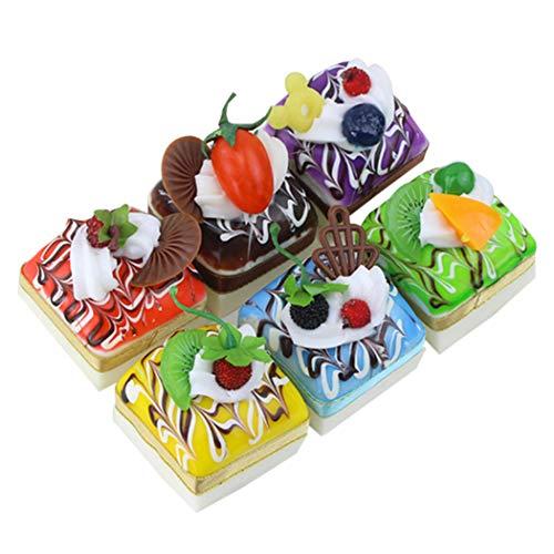 JUSTDOLIFE 6 piezas de decoración para tartas falsas y decorativas de imitación para tartas artificiales