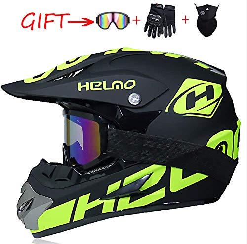 Gymqian Motorradhelm Offroad-Helm Schutzhelm Cruiser Moto-Helm Motocrosshelm Endurance Sporthandschuhe Surprise Mask and Goggles