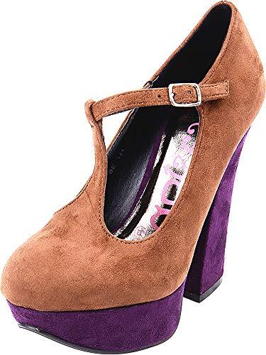 Damen Schuhe Burlesque Riemchen Plateau High Heels Braun Pumps 41