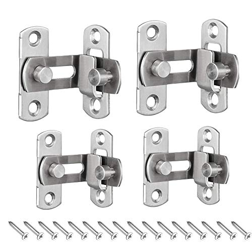 4 pcs 90 Degree Right Angle Door Latch, Buckles Curved Latch, Bolts Sliding Lock Lever Bolts with Stainless Steel Brushed Finish for Doors and Windows Hardware Lock Bolt Household Accessories