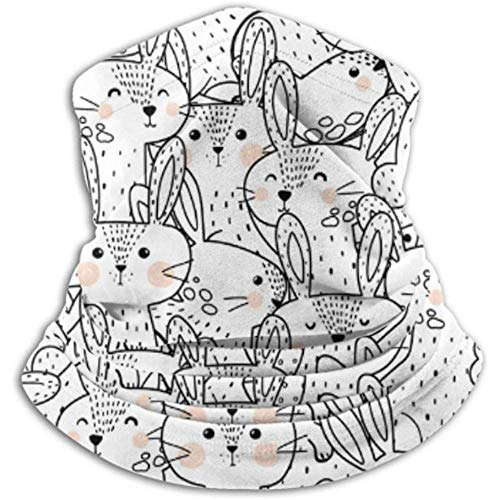 Linger In Cache-Cou Funny Rabbits Circle Shape Pattern Coloring Scarf, A Full Face Mask Or Hat, Neck Gaiter, Neck Cap Ski Mask