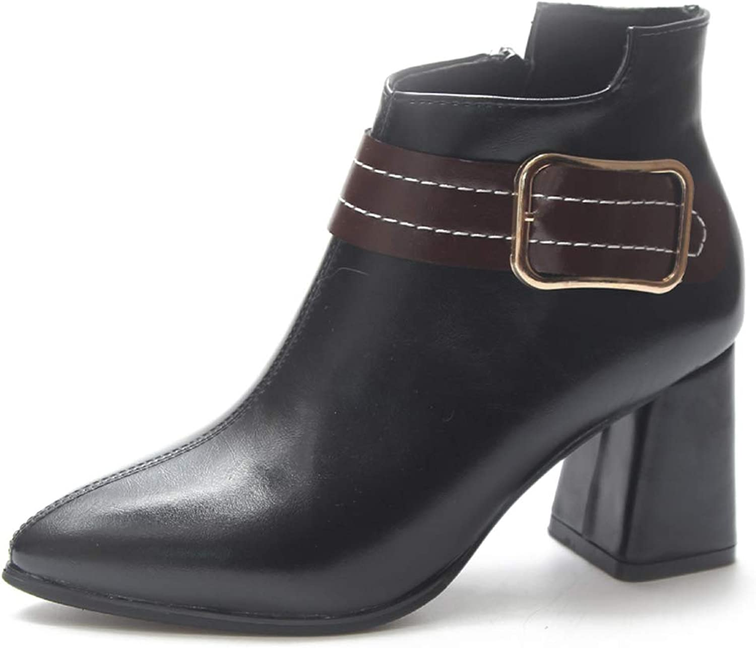 Women Booties Thick with Pointed Ankle Boots Belt Buckle Side Zip high Heel Martin Boots
