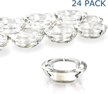 "Elivia Clear Tealight Candle Holders - Set of 24, Round Chunky Glass Candle Holder, 3"" Diameter"