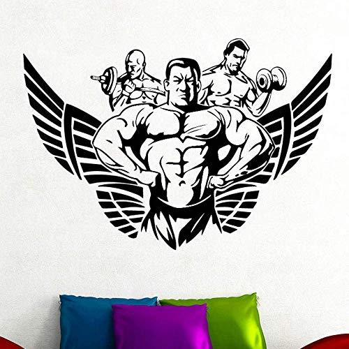 Etiqueta Engomada De La Pared Del Patrón Del Hombre Musculoso Para La Decoración Del Gimnasio Del Dormitorio De Los Niños Etiqueta De La Pared De Vinilo Extraíble Accesorios Autoadhesivos Cartel 58X39 Cm