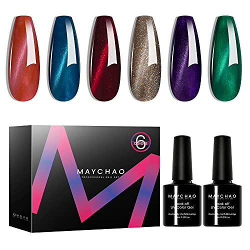 MAYCHAO Gel Nail Polish Set, 6 Color Cat Eye Gel Polish Set, Soak Off UV Gel Nail Polish Kit 7.3ml 6PCS with 1PC Magnet Stick