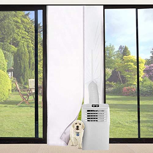 Queta Guarnizione Universale per Finestre per Condizionatore Portatile, Asciugatrice, Climatizzatore Mobili, Guarnizione Finestra Climatizzatore con Zip e Velcro Biadesivo 210*90cm