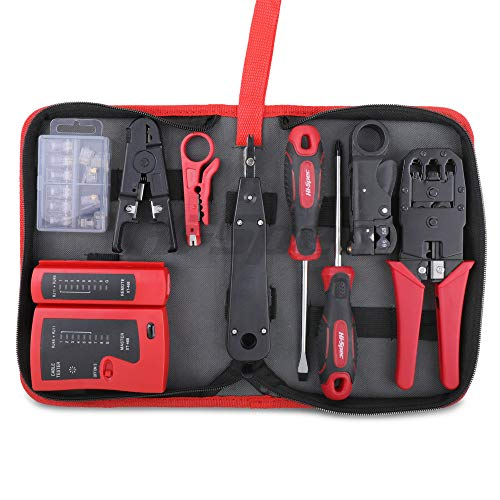 Hi-Spec 9 Piece Network Cable Testing & Wiring Repair Tool Kit. Remote LED Continuity Test Box, Screwdrivers, Cutters & Strippers, Crimper & Krone Punch Down Tool in a Zipper Case
