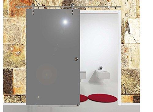 BV775GA: Glasschiebetür Glas Schiebe Tür VSG hochglanz grau 775x2050mm inkl. Soft_Stop Edelstahl Schiebetürbeschlag
