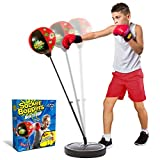 """Socker Boppers """"BoxNBop"""" Freestanding Punching Bag with Stand and Gloves and Pump for Kids, Box, Bop, Punch, Adjustable height 29-42"""", Great tool for agility-balance-coordination-athletic development"""