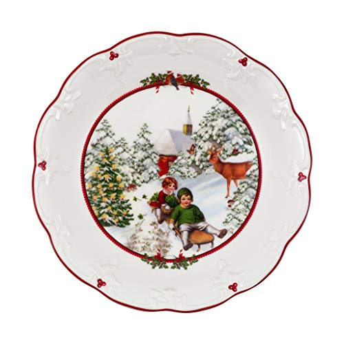 Villeroy & Boch - Toy's Fantasy Coupelle grande, Promenade à traîneau, coupelle pour en-cas décorative en porcelaine premium, 24,5 x 24,5 x 4 cm, multicolore/rouge/blanc