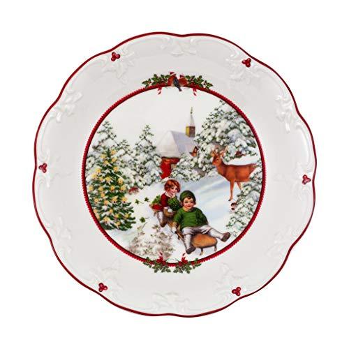 Villeroy & Boch - Toy\'s Fantasy Schale groß, Schlittenfahrt, dekorative Snackschale aus Premium Porzellan, 24.5 x 24.5 x 4 cm, bunt/rot/weiß