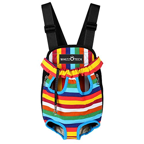 Whizzotech Adjustable Pet Carrier Backpack Pet Frontpack Carrier Travel Bag Legs Out Easy-Fit for Traveling Hiking Camping PB03 (S, Rainbow)