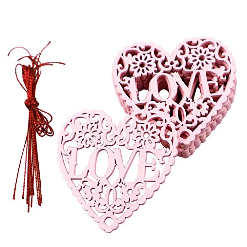 Oppal Suministros Festivos de Madera para Bodas Día de San Valentín Corazón Hueco Amor Decoración, decoración y Colgantes para el día de Pascua (C)