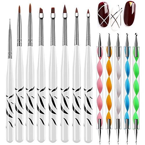 Juego de 8 pinceles para arte de uñas, con 5 herramientas de punteado, para decoración de uñas, para manicura o pintura de uñas