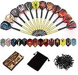 Sinwind 12 Dardos Punta Plastico para Diana Electrónica, Dardos Diana Electronica de Profesionales + 42 Plumas de 14 Patrones + 100 Puntas (16 Gramos)