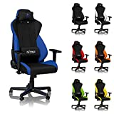 NITRO CONCEPTS S300 Gaming Chair - Galactic Blue - Office Chair - Ergonomic - Cloth Cover - Up to 300 lbs Users - 90° to 135° Reclinable - Adjustable Height & Armrests