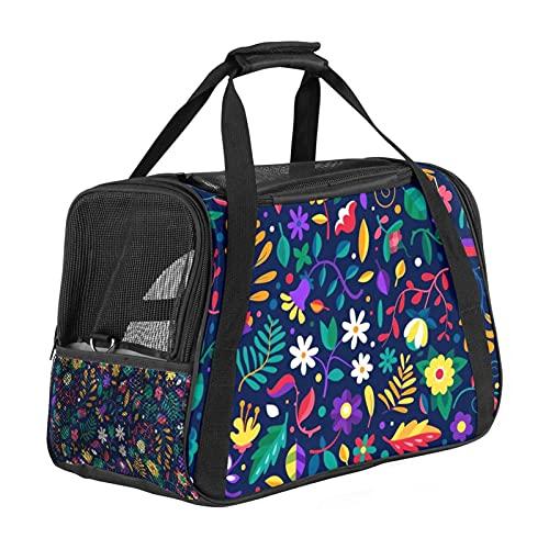 Bolsa portátil de viaje para mascotas, bolsas de viaje aprobadas por aerolíneas para gato y conejo, con impresión floral de colores de cara suave