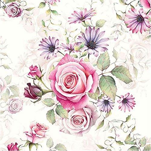 20 Servietten Vintage Rosen Komposition als Tischdeko und für Bastelarbeiten mit Serviettentechnik 33x33cm
