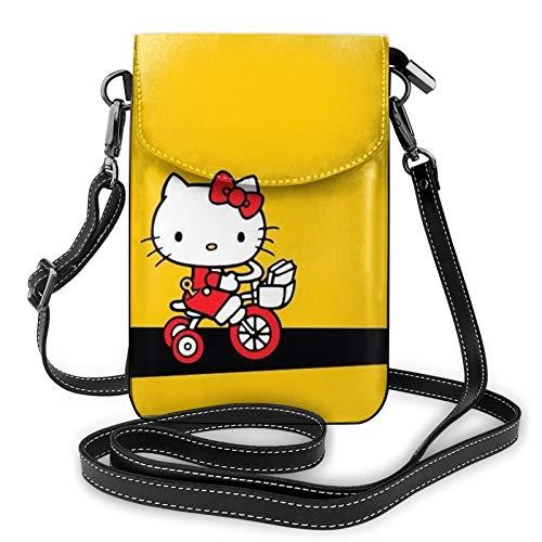 Hello Kitty está feliz de montar una bicicleta bolso de teléfono pequeño Crossbody bolsa para las mujeres mini bolsos de hombro cartera de teléfono móvil monedero con ranuras para tarjetas de crédito