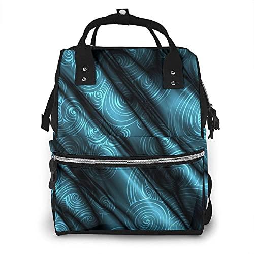 Azul oscuro satén oscuro pañal bolsa multifunción bolsas de pañales para el cuidado del bebé impermeable ancho abierto viaje mochila para la organización