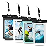 ProCase Universal Cellphone Waterproof Pouch Dry Bag Underwater Case for iPhone 12 Pro Max 11 Pro Max Xs Max XR X 8 7 6S, Galaxy S20 Ultra S10 S9 S8/Note10 9 up to 7' -4 Pack,Black White Green Clear